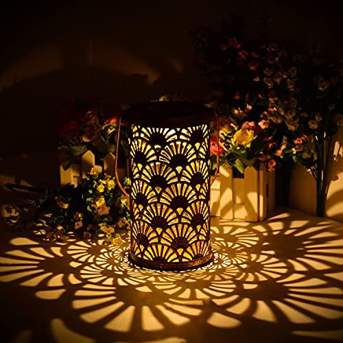 ShinePick Solarlaterne für Außen, Metall Solar Laterne Aussen für Garten Deko, IP65 Wasserdicht LED Dekorative Laterne Solar Hängend für Terassendeko Patio Balkon [Energieklasse A++]
