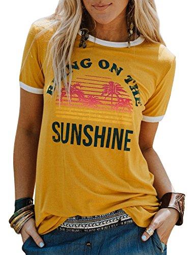 Dresswel Damen Bring On The Sunshine T Shirt Kurzarm Rundhals Regenbogen Top T-Shirt Sommer Oberteile Oben, Gelb, M