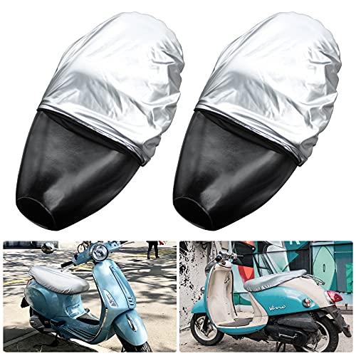 Motorrad Sitzbezug 2 Stück Elastischer Leder Roller Sitzbankbezug Universale Motorrad Sitzbankabdeckung Wasserdichter Roller Sitzabdeckung (Silber)