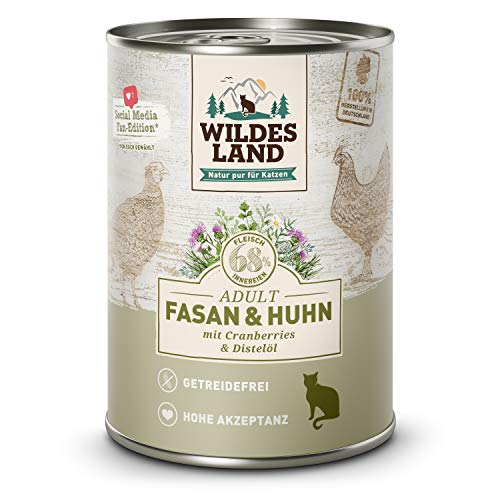 Wildes Land | Fasan & Huhn | 6 x 400 g Dose | Nassfutter für Katzen | Getreidefrei | Extra viel Fleisch | Beste Akzeptanz und Verträglichkeit