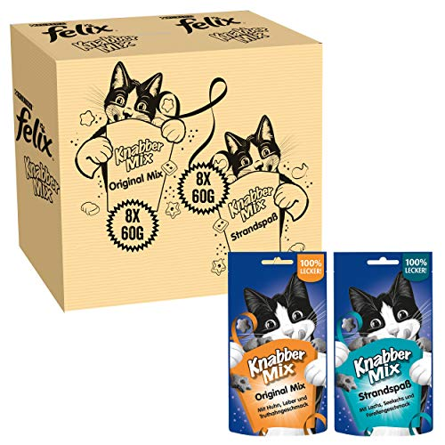 FELIX Knabber Mix Original & Strandspaß, Katzensnack mit verschiedenen Sorten, 2er Pack (2 x 8 Beutel à 60g)