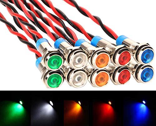 Gebildet 10pcs 6mm DC 12-24V Wasserdicht erkabelt LED Kontrollleuchte Set(5 Farben,Rot/Grün/Orange/Weiß/Blau)