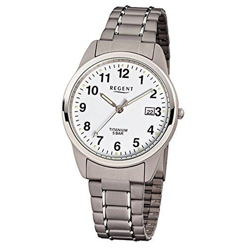 Regent Armbanduhr Titan Herrenuhren-Kollektion Herren-Uhr mit Titan (Metall)-Armband grau silber analoges Quarzwerk D1URF432