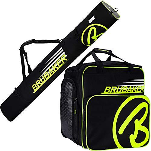 Brubaker Kombi Set Carver Champion - Skitasche und Skischuhtasche für 1 Paar Ski + Stöcke + Schuhe + Helm - Schwarz/Neon Gelb - 170 cm