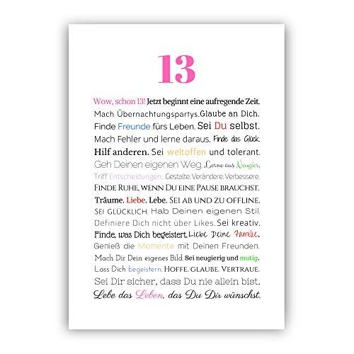 13. Geburtstag Mädchen Teenager Geschenk Geschenkidee Poster Kunstdruck Bild Geburtstagsgeschenk A4