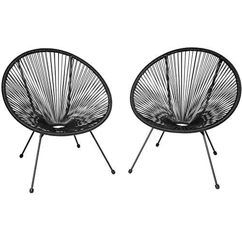 TecTake 800729 2er Set Acapulco Garten Stuhl, Lounge Sessel im Retro Design, Indoor und Outdoor, pflegeleicht, Relaxsessel zum gemütlichen Sitzen - Diverse Farben - (Schwarz | Nr. 403302)