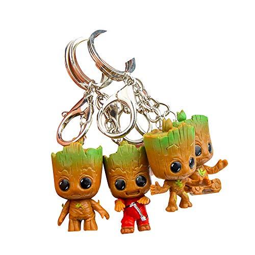 thematys® Baby Groot Schlüsselanhänger (4er Set) Schlüsselbund Keyring Keychain Metall Dekoration Merchandise - Action-Figur aus dem Filmklassiker I AM Groot
