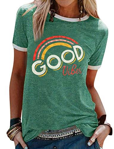 Dresswel Damen Good Vibes T-Shirt Regenbogen Muster Shirt Rundhals Kurzarm/Langarmshirt Oberteile Hemd Tops Bluse(11-Green,XXL)