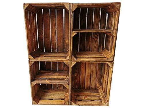 Alte geflammte Obstkisten/Holzkisten in vielen Variationen -Ideal zum Möbelbau oder zur Aufbewahrung- Sehr massiv und stabil verarbeitet (4er Set / 2 x Boden Quer)