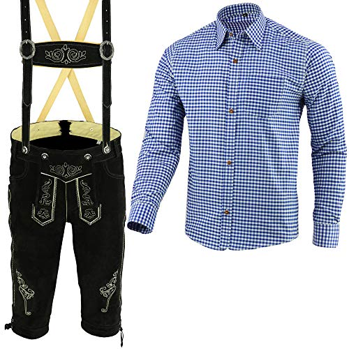 Herren Trachten Lederhose Schwarz Inkl. Hosen Träger Größe 46-62 Trachten Set Blau Hemd Neu (Hose 52 Hemd L)