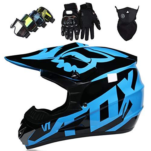 Motorradhelm Kinder Motocross Helm Set mit Brille Handschuhe Fahrradhelm Unisex Fullface Cross Helm mit FOX Design Downhill Quad Enduro ATV Mountainbike Schutzhelm - MJH-01 - Glänzendes Schwarz Blau