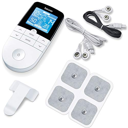 Beurer EM 49 Digital TENS/EMS, 3-in-1 Reizstromgerät zur Schmerzlinderung durch elektrische Nervenstimulation, Training durch elektrische Muskelstimulation, Massagefunktion, inklusive 4 Elektroden