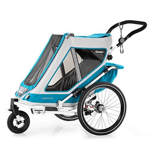 Qeridoo Speedkid 2 (2020/2021) Fahrradanhänger für 2 Kinder, Kinderanhänger - Petrol