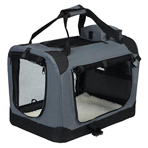 EUGAD 0112HT Hundebox faltbar Hundetransportbox Auto Transportbox Reisebox Katzenbox Grau 60 x 42 x 42 cm