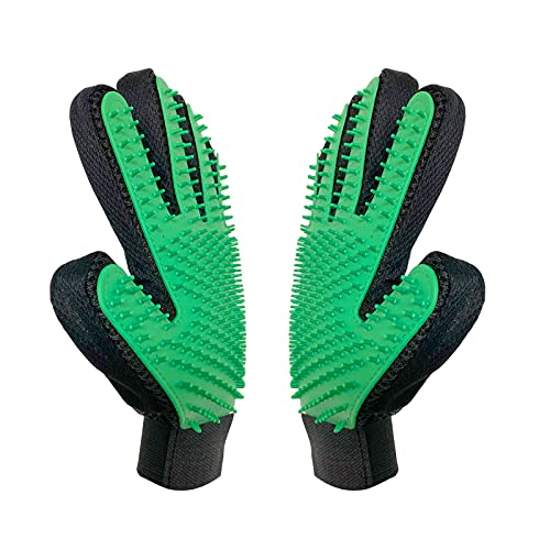 DHMAKER [Verbesserte Version] Hundesalon-Handschuh Fünf Finger Gentle Deshedding Pinsel Handschuh Effiziente Pet Haarentferner 2 In 1 Pair