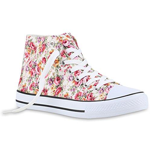 stiefelparadies Damen Schuhe 140091 Sneakers Creme Muster 41 Flandell