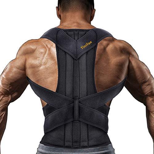Tinifan Rücken Geradehalter für Männer und Frauen, Schultergurt Haltungskorrektur, Schmerzlinderung für Nacken, Lendenwirbelsäule und Schultern Verstellbar Mit Unterstützung für Wirbelsäule und Taille