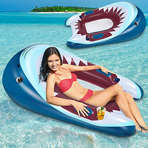 Flyfun Shark Floating Recliner Lounge, tragbarer Luftmatratze Wasser Schwimmstuhl aufblasbare Wasserhängematten Outdoor Rafts Bed Sommergeschenk am Pool, am Strand Wasserspielzeug für Männer Frauen