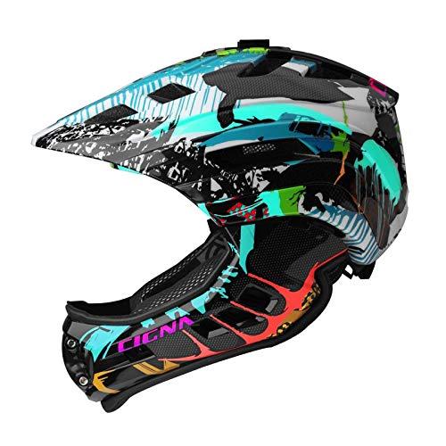 MOKFIRE Fahrradhelm Kinder - Fullface Helm MTB Abnehmbarer Kinnschutz Wiederaufladbares Licht Sport Kamera Halterung Fahrradhelm Jungen Mädchen 53-58cm