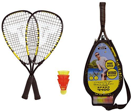 Talbot-Torro Speed-Badminton Set Speed 4400, 2 handliche Alu-Rackets 54,5cm, 3 windstabile Bälle, im 3/4 Bag, gelb-schwarz, 490114