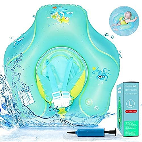 Baby Schwimmring, Antidumping Baby Schwimmreifen mit Dual Airbag, Aufblasbarer Baby Schwimmhilfe mit Verstellbarem Sicherheitsgurt, Baby Schwimmtrainer mit Schwimmsitz für Babys 3-36 Monate (5-22 kg)