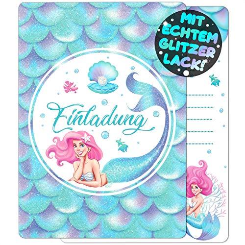 VULAVA 12x Glitzer EINLADUNGSKARTEN für Party und Kindergeburtstag - die Karten im bunten Meerjungfrau Design sind die EINLADUNG für Mädchen Jungen Kinder zum Geburtstag Einschulung und KINDERPARTY