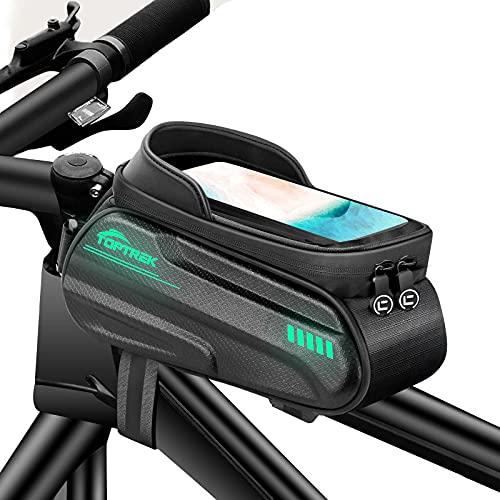 toptrek Fahrradtasche Rahmen Wasserdicht Handytasche Fahrrad Fluoreszierendes Design Rahmentasche Fahrrad mit TPU Touchscreen Fahrradtaschen für Smartphone Unter 6,62 Zoll