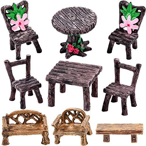 9 Stücke Miniatur Tisch und Stühle Set Feegarten Möbel Ornamente Mini Dekor Harz Blumentisch Stuhl Mikro Landschaft Dekoration für Landschaft Garten Dekoration Zubehör Bedarf