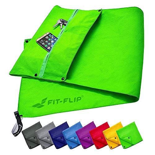 Fit-Flip Fitness Handtuch Set mit Reißverschluss Fach + Magnetclip + extra Sporthandtuch   zum Patent angemeldetes Multifunktionshandtuch, Mikrofaser Handtuch - Grün