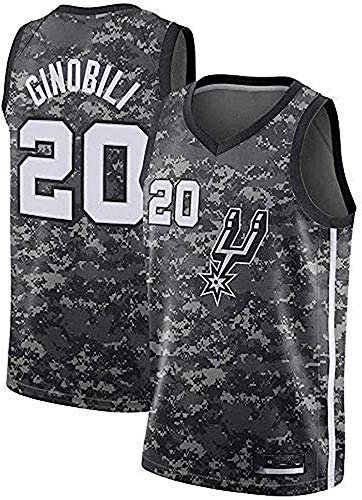 CXJ Herren-Basketball-Trikots, San Antonio Spurs # 20 Manu Ginobili Jersey, Stickte Mesh-Fan Unisex Ärmel Trikots,A,S(165~170CM/50~65KG)