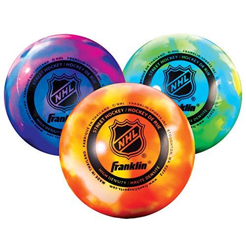 Franklin Sports NHL Extreme Color Street Hockeyball, hohe Dichte,, 3 Stück