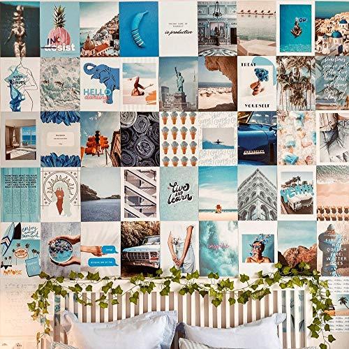 Flamingueo Fotowand - 50 Bilder Set, Wandbild, Wand Dekoration, Schlafzimmer Deko, Poster Set, Aesthetic, Wanddeko, Wandsticker, Deko Teenager Mädchen Zimmer, Room Decor, Aesthetic Deko (Blue Ocean)