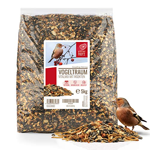 wildtier herz I Vogeltraum Vitalmix Sommerfutter - Premium Insekten Vogelfutter, Wildvogel-Futter extra Protein für Eltern, Brut und Jungvögel, Vogel Streufutter, Fettfutter Vögel (5kg)
