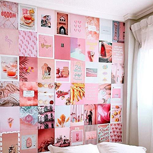 Flamingueo Fotowand - 50 Bilder Set, Wandbild, Wand Dekoration, Schlafzimmer Deko, Poster Set, Aesthetic, Wanddeko, Wandsticker, Deko Teenager Mädchen Zimmer, Room Decor, Aesthetic Deko (Pink Island)