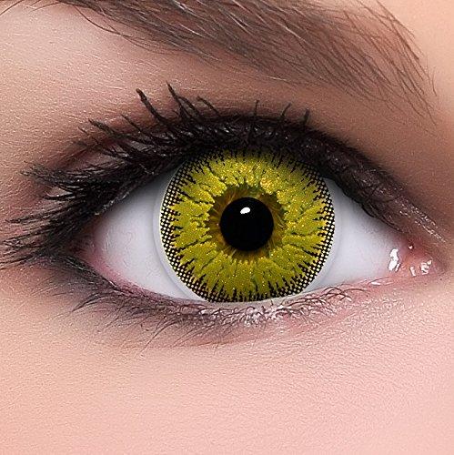 Circle Lenses goldene 'Gold Glitter' ohne Stärke + Behälter 14,50mm farbige Kontaktlinsen