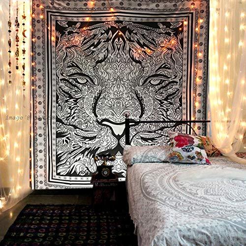 Raajsee Schwarz und Weiß Löwe tiger Wandteppich Mandala Queen (210x220cms) / Indisch Psychedelic Boho Hippie Wandbehang baumwolle Tapisserie / ein perfektes Geschenk