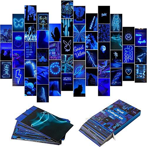 BeYumi 50 Stück Blue Neon Ästhetische Bilder Wandcollage-Kit, Neonblau-Fotosammlungen Wohnheimdekore für Teenager Mädchen und Jungen, Trendige Wanddrucke kleine Poster für Zimmer Schlafzimmer