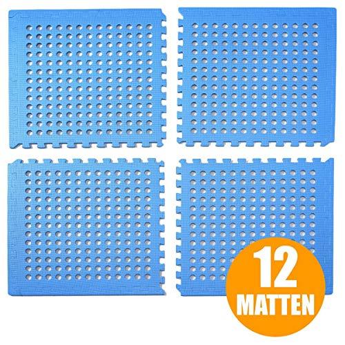 bonsport Pool Unterlegmatte Poolmatte 12 Stück - Bodenschutz Matte für den Pool/Planschbecken - Bodenfolie Bodenmatte Poolunterlage Bodenschutz blau