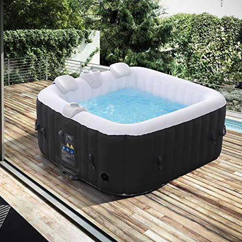 Arebos Whirlpool Florence   aufblasbar   In- & Outdoor   4 Personen   100 Massagedüsen   mit Heizung   600 Liter   Inkl. Abdeckung   Bubble Spa & Wellness Massage