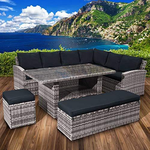 BRAST Poly-Rattan Sitzgarnitur Gartenmöbel Essgruppe Lounge Sitzgruppe ECO 9 Personen Grau/Anthrazit