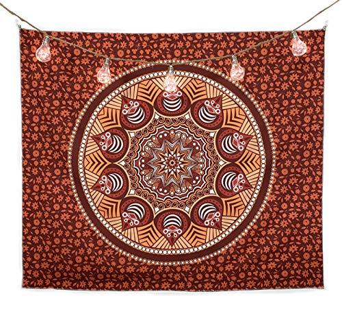 bh+ Wandteppich Mandala   Indisches Psychedelic Wandtuch   Wanddeko Schlafzimmer   130x150 cm   Orientalische Boho Deko   Indische Wandbehang Decke   Inklusive Wandhacken (Orange)