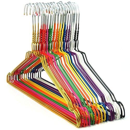 HANGERWORLD 100 Bunte Metall-Draht-Kleiderbügel 40 cm breit aus verzinktem Stahl mit farbenfroher Pulverbeschichtung