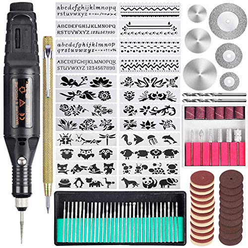 Uolor 108 Pcs Gravierwerkzeugsatz, Multifunktionaler Gravurstift DIY Drehwerkzeug für Schmuck Glas Holz Metall mit Anreißer, 82 Zubehör und 24 Schablonen