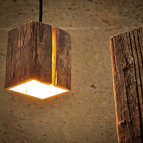 Almleuchten H5 Altholz Hängeleuchte mit Lichtschlitz/faszinierende Holzlampe