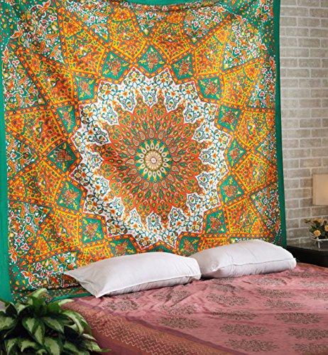 Gelbe, Orange und Grüne Wandteppiche - große Sternteppiche Boho-Wandteppiche, dekorative Wandteppiche, Picknick-Wandteppiche, Strandteppiche - 228 x 213 cm
