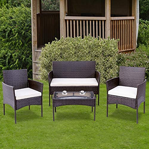 Garten Lounge Set Polyrattan Sitzgruppe für 4 Personen Balkonmöbel Set Gartenmöbel-Set, 4-teilig, 2 Sessel, Sofa & Tisch, inkl. Sitzkissen für Garten Balkon & Terrasse, Braun