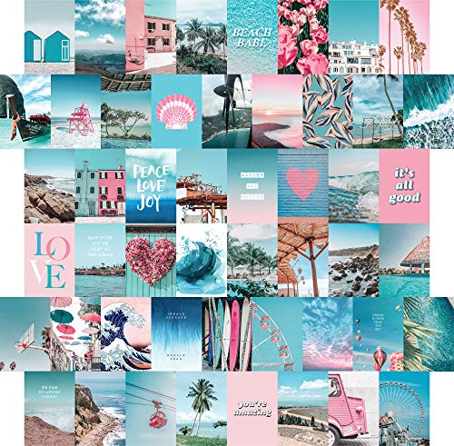 ARTIVO Blue Wall Collage Kit Aesthetic Pictures, 50 Set 10,2 x 15,2 cm, Pink VSCO Schlafzimmer Decor for Teen Girls, Summer Beach Wall Art Print, Dorm Photo Collection, Small Poster for Room