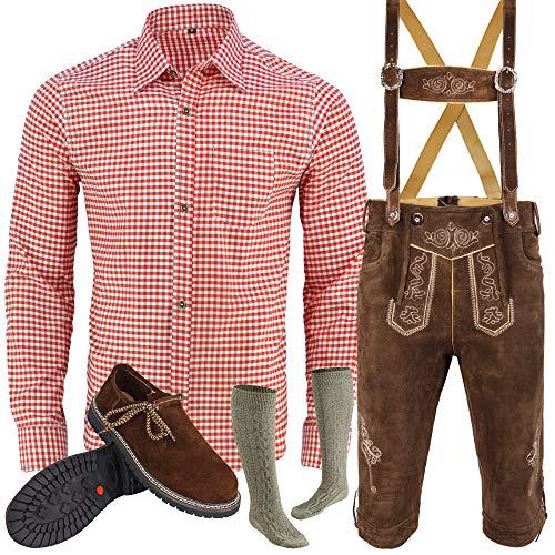 Herren Trachten Lederhose Inkl. Hosen Träger Größe 46-62 Trachten Set Hose,Hemd,Schuhe,Socken Neu (60)