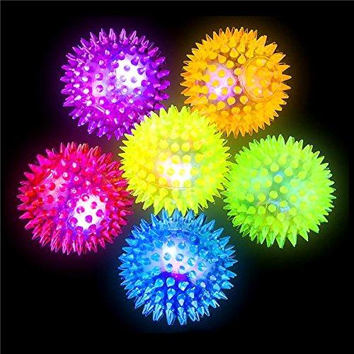 German Trendseller® - 6 x LED Stachel - Bälle┃ 6 cm ┃ Blinkflummi ┃ Stachelball ┃ Kindergeburtstag