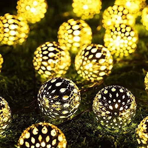 Marokkanische Lichterkette,7M 50 LED Solar Lichterketten, Einstellbare 8 Modi, Wasserdicht Lichterkette, Zur Dekoration Von Weihnachtsgärten Im Freien (warmweiß)